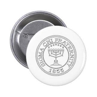 Sigma Chi Grand Seal B+W 2 Inch Round Button