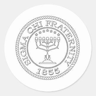 Sigma Chi Grand Seal B+W Classic Round Sticker