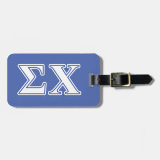 Sigma Chi White and Blue Letters Bag Tag