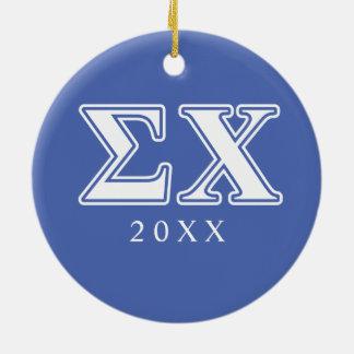 Sigma Chi White and Blue Letters Ceramic Ornament