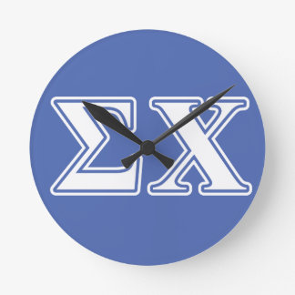 Sigma Chi White and Blue Letters Round Wall Clocks