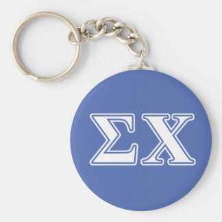 sigma chi white and blue letters keychain