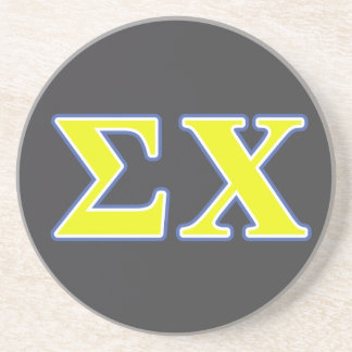 Sigma Chi Yellow and Blue Letters Beverage Coaster