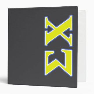 Sigma Chi Yellow and Blue Letters Binder