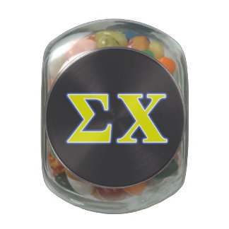 Sigma Chi Yellow and Blue Letters Jelly Belly Candy Jar