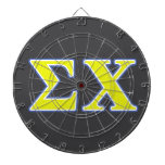 Sigma Chi Yellow and Blue Letters Dart Board