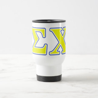 Sigma Chi Yellow and Blue Letters Mugs