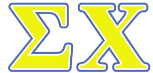 sigma chi yellow and blue letters shirt