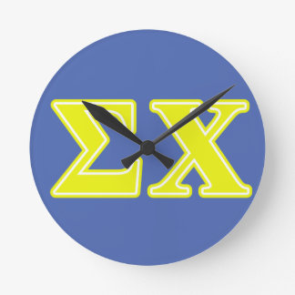 Sigma Chi Yellow Letters Round Wallclock