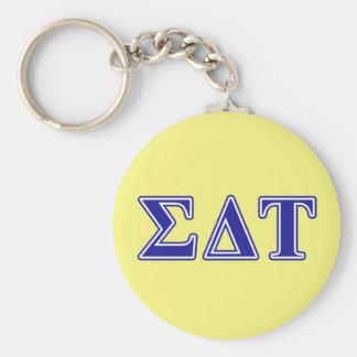 Sigma Delta Tau Blue Letters Basic Round Button Keychain