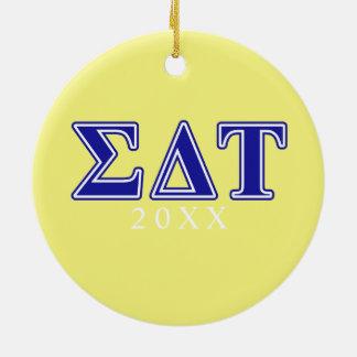 Sigma Delta Tau Blue Letters Ceramic Ornament