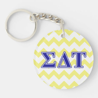 Sigma Delta Tau Blue Letters Double-Sided Round Acrylic Keychain