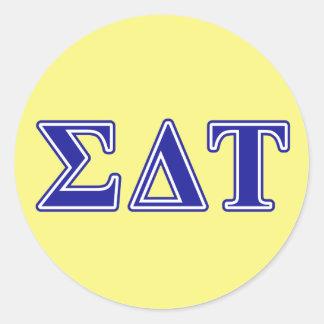 Sigma Delta Tau Blue Letters Round Sticker