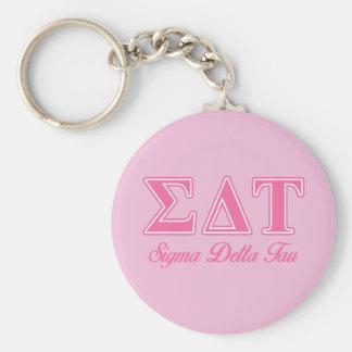 Sigma Delta Tau Pink Letters Basic Round Button Keychain