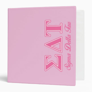 Sigma Delta Tau Pink Letters Binder