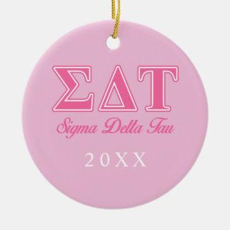 Sigma Delta Tau Pink Letters Ceramic Ornament