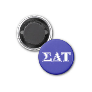 Sigma Delta Tau White and Blue Letters Magnet