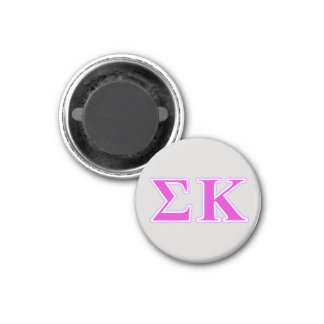 Sigma Kappa Lavender and Pink Letters 1 Inch Round Magnet