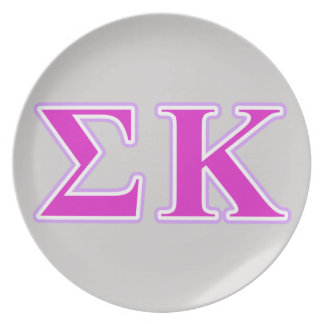 Sigma Kappa Lavender and Pink Letters Dinner Plate