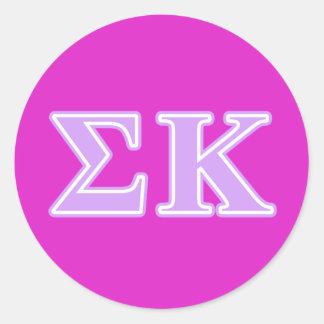 Sigma Kappa Lavender Letters Classic Round Sticker