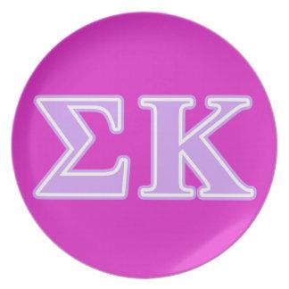 Sigma Kappa Lavender Letters Plates