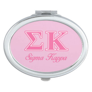 Sigma Kappa Light Pink Letters Travel Mirrors