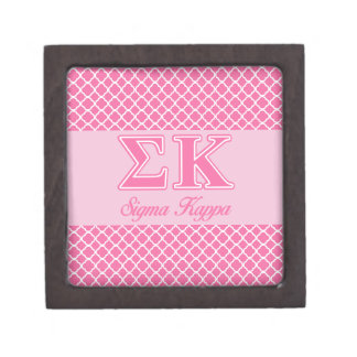 Sigma Kappa Light Pink Letters Premium Trinket Boxes
