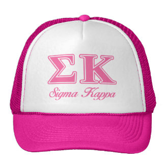 Sigma Kappa Light Pink Letters Trucker Hats