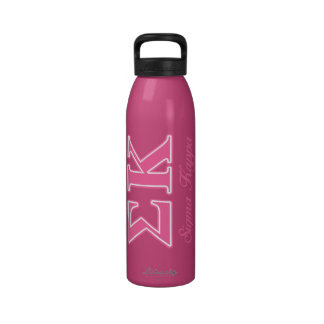 Sigma Kappa Light Pink Letters Water Bottles