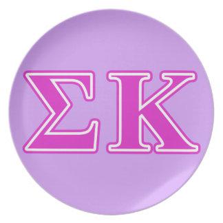Sigma Kappa Pink Letters Plates