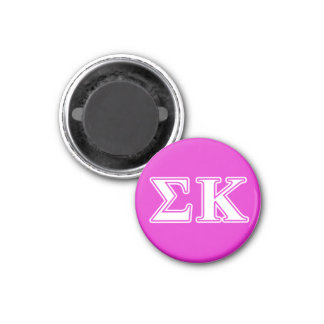 Sigma Kappa White and Lavender Letters 1 Inch Round Magnet