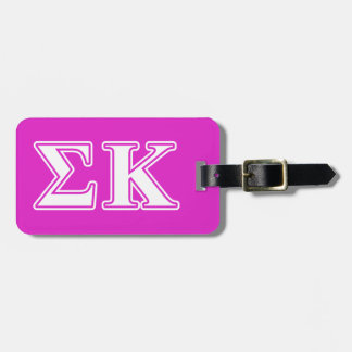 Sigma Kappa White and Lavender Letters Bag Tags