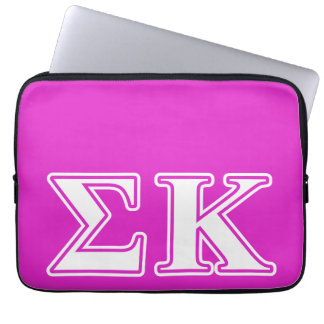 Sigma Kappa White and Lavender Letters Laptop Sleeves