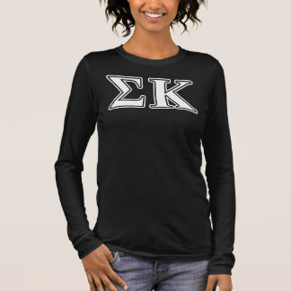 Sigma Kappa White and Lavender Letters Long Sleeve T-Shirt