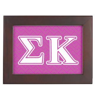 Sigma Kappa White and Lavender Letters Keepsake Boxes