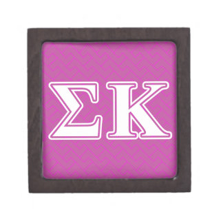 Sigma Kappa White and Lavender Letters Premium Keepsake Boxes