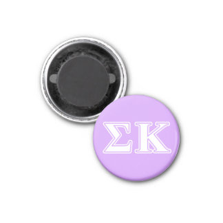 Sigma Kappa White and Pink Letters 1 Inch Round Magnet