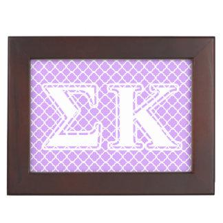 Sigma Kappa White and Pink Letters Keepsake Box