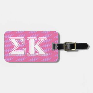 Sigma Kappa White and Pink Letters Luggage Tag