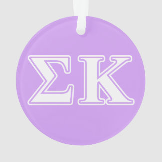 Sigma Kappa White and Pink Letters Ornament