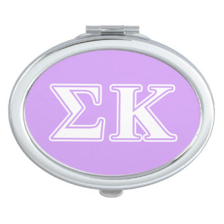 Sigma Kappa White and Pink Letters Makeup Mirror