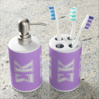 Sigma Kappa White and Pink Letters Bath Accessory Set
