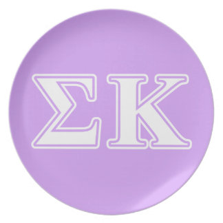 Sigma Kappa White and Pink Letters Plates
