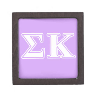 Sigma Kappa White and Pink Letters Premium Jewelry Box