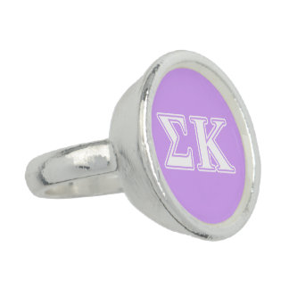 Sigma Kappa White and Pink Letters Ring