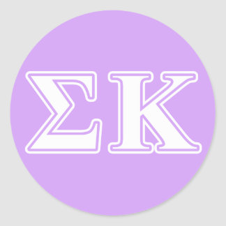 Sigma Kappa White and Pink Letters Round Sticker