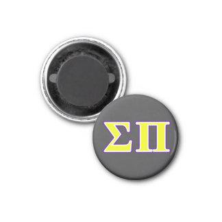 Sigma letras amarillas y púrpuras del pi imán redondo 3 cm