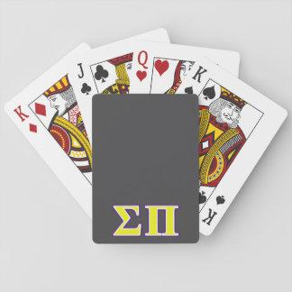 Sigma letras amarillas y púrpuras del pi baraja de cartas