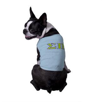 Sigma letras amarillas y púrpuras del pi playera sin mangas para perro