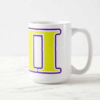 Sigma letras amarillas y púrpuras del pi taza de café